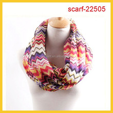 wholesale 100% polyester volie print chevron infinity scarf