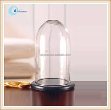 glass dome displays with wooden base, glass bell jar cloche