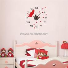Zooyoo826removable decorativo reloj animal etiqueta de la pared del diseño del arte auto adhesivo etiqueta de la pared reloj de pared decorativos para el dormitorio