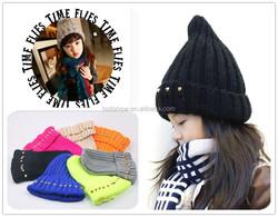 Fashion Cool Hemp Flowers Pattern Boys Girls Rivet Knitted Beanie Hat
