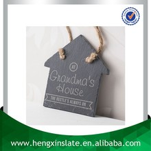 Promotion Handmade Hanging 12*11*0.5cm House Shape Slate Plaques (Customized Laser Design)