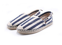 wholesale women's & mens gender espadrille shoes navy blue stripe canvas shoes slip on moccasin casual shoes sneaker shoes
