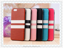 """For iPhone6 Fashion Retro 2 Stripes TPU & PU Leather Soft Case for Apple iphone 6 4.7"""" Mobile Phone Back Protective Cover"""