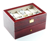20 slots glass top glossy wooden watch box with drawer