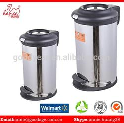New design Stainless Steel Trash Can Round Shape Foot Pedal Bin With Metal Base From China Goodyear
