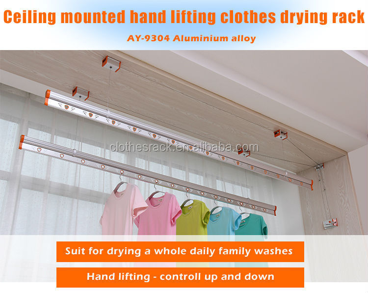 2 Ceiling Mounted Hand Lifting Clothes Airing Rack AY 9304
