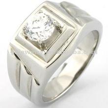 mirror polishing zircon stone ring/Having a crystal diamond, stainless steel ring