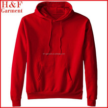men cotton polyester hoodie in plain red with ribbed waistband and cuffs