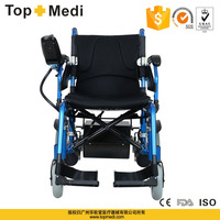 Rehabilitation Therapy Supplier China topmedi hot sales handicapped aluminum foldable battery power electric wheelchair
