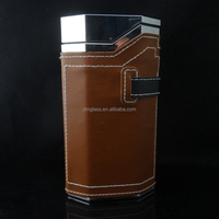 Supply Dubai hot sale 100ml luxury man's perfume glass bottle with leather