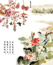 ink blossoming famous paintings wallpaper murals for lobby decor