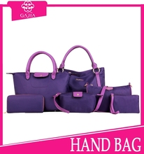 Hot sale high quality nylon factory price big elegent women hand bag 6 pcs in 1 2015 latest fashion handbags in stock