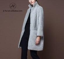 2015 Women Fashionable Winter Clothing Mongolian Lamb Fur Coat with lamb skin