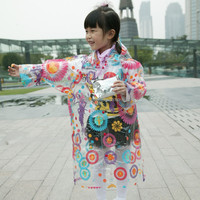 Beautiful fancy transparent kids long ponchos print patterns items for kids