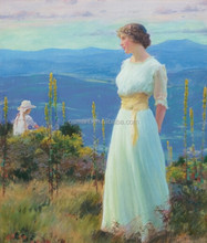 beautiful women on the mountian oil painting on canvas Outdoor thinking Woman Photos Oil Painting for home decor