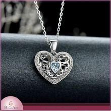 925 sterling silver heart pendant fashion zircon jewelry pendant 2015