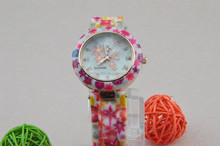 Women Silicone Printed Flower Causal Quartz Wrist Watches Pink