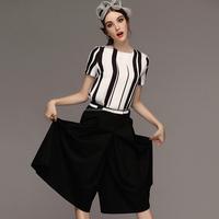 Women fashion short sleeve fat legging black and white jumpsuit sexy ladies jumpsuit