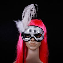 2015 New design available with handle Crack party mask on sticks ostrich feathers