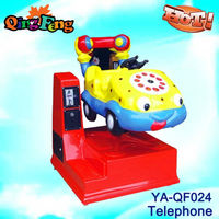 Game center telephone car kiddie rider on car game machines for kids 2-4 years old