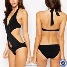 open sexy girl full photo cross wrap front halter one piece bikini sexy fashion black swimwear