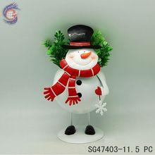 Metal christmas decor flower pot of Snowman planter pot for Christmas decorations