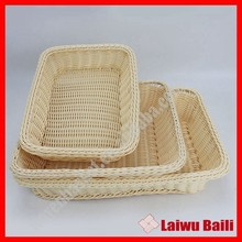 100% woven plastic small rattan handmade bread basket