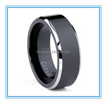 Two Tone Black Cobalt Wedding Band Engagement Ring Comfort Fit 8mm