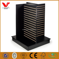 Unique 4 sides black slatwall pinwheel fixtures for retail stores