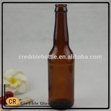 whosale !330ml amber glass beer bottle with liquor