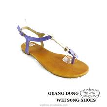 cotton rope design purple flat comfortable clip toe cheap thong sandals