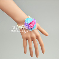 14H Stock fashion artificial flowers elastic pearls bridesmaid bracelet