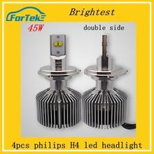 45w 4500ml high power car led leadlight bulbs double sides H4 led headlight auto