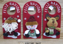 Christmas santa snowman reindeer design doorknob hanger best selling christmas gifts 2015