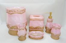 Beautiful Pink 7pcs Per Set Resin Bathroom accessory Set