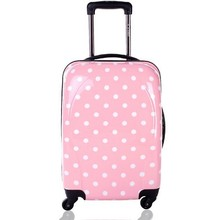 Cute Pink Girls Polka Dot Travel Rolling PC Hard Luggage