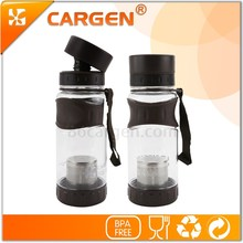 Light and handy portable BPA free plastic tea bottle with double lid