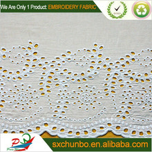 Top level white colour eyelet swiss cotton voile embroidery fabric for garment