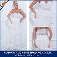 Innovative Sweetheart Strapless Floor Length Beading Ostrich Feather Evening Dress