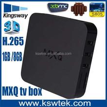 Hot selling android 4.4 Kitkat mxq tv box amlogic S805 3d bluray full hd android tv box media player