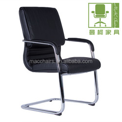 Black PU combo visitors chair with sleigh base MAC1002-1V Silla de oficona