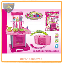 Juego de cocina juguetes de plástico 2 in 1 con maleta para niñas