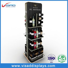 China supplier wooden floor wine display rack