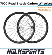 Hotsell Wheelset tubular de carbono de 700C full Carbon road bike juego con 25 mm ancho de ruedas de carbono