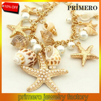 PRIMERO Cheap fashion Ocean Style Multi Starfish Sea Star Conch Shell Pearl Chain Beach Bracelet Bangle Novelty Hot Selling