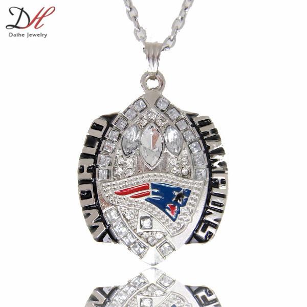 New England Patriots colar com pingente de charme campeonato da equipe