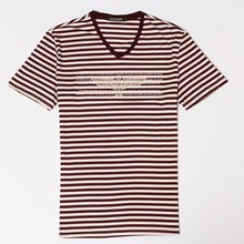 large stock supply for man's striped style quality t shirt designed with offset printing pattern