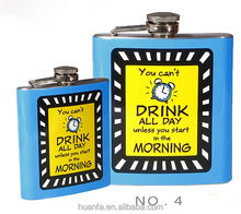 6oz New customized super mini Stainless Steel metal body Hip Flask with decal printing hip flask