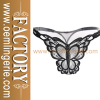 Hot Sale Butterfly Details Open Crotch Women Panties Black Sheer Lace Underwear