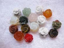 Piedra Preciosa multicolor flores talladas(ágata, howlite, cristal, cuarzo, aventurina, cornalina)